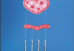 WD7348 Heart Wind Chime Pk/6 DIY Craft